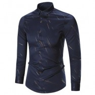 image of BUTTON UP LONG SLEEVE PRINTED SHIRT (CADETBLUE) M