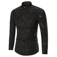 image of BUTTON UP LONG SLEEVE PRINTED SHIRT (BLACK) 4XL