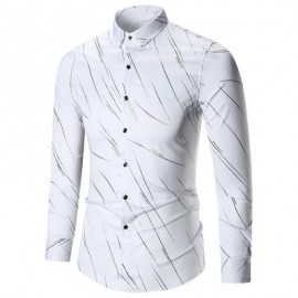 image of BUTTON UP LONG SLEEVE PRINTED SHIRT (WHITE) 3XL