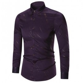 image of BUTTON UP LONG SLEEVE PRINTED SHIRT (PURPLE) 4XL