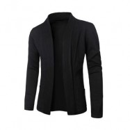 image of CASUAL SOLID COLOR MALE LONG SLEEVE KNITWEAR (BLACK) L