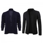 CASUAL SOLID COLOR MALE LONG SLEEVE KNITWEAR (BLACK) L