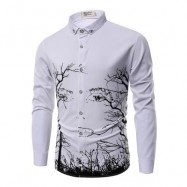 image of FASHION PERSONALITY PRINTING MEN'S LONG-SLEEVED SHIRT MEN (WHITE) 3XL