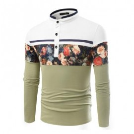 image of FASHIONABLE STAND COLLAR BUSINESS LONG-SLEEVED POLO SHIRT (IVY) L
