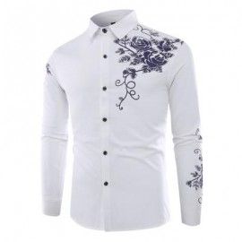 image of FASHION LAPEL ROSE PRINTING CASUAL MEN LONG-SLEEVED SHIRT MEN (WHITE) L