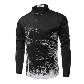 image of FASHION PERSONALITY PRINTING MEN'S LONG-SLEEVED SHIRT MEN (BLACK) 3XL