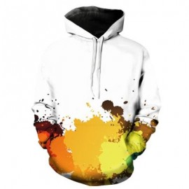 image of HOODED 3D COLORFUL PAINT SPLATTER PRINT PULLOVER HOODIE (YELLOW) XL