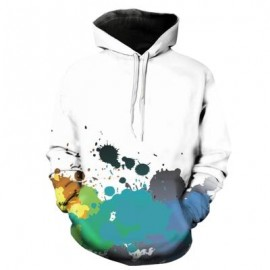 image of HOODED 3D COLORFUL PAINT SPLATTER PRINT PULLOVER HOODIE (BLUE) XL