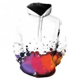 image of HOODED 3D COLORFUL PAINT SPLATTER PRINT PULLOVER HOODIE (RED) XL