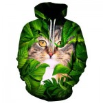 HOODED CAT LEAVES 3D PRINT PULLOVER HOODIE (COLORMIX) M