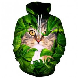 image of HOODED CAT LEAVES 3D PRINT PULLOVER HOODIE (COLORMIX) M