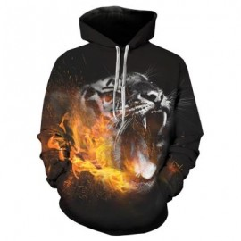 image of HOODED 3D LEOPARD FLAME PRINT PULLOVER HOODIE (COLORMIX) L