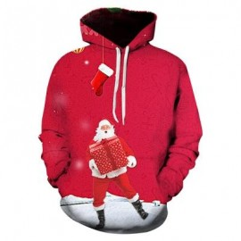 image of HOODED 3D CHRISTMAS SANTA PRINT PULLOVER HOODIE (COLORMIX) 2XL