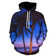 image of 3D TREES PRINT PULLOVER HOODIE (COLORMIX) L