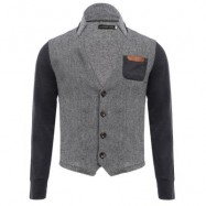 image of CASUAL PATCHWORK DESIGN POCKET DECORATION MALE STAND COLLAR COAT (GRAY) L