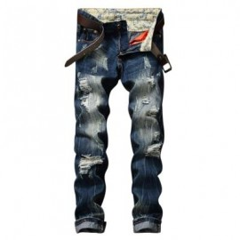 image of SCRATCHED ZIPPER FLY RIPPED JEANS (BLUE) 32