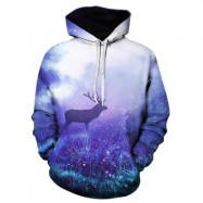 image of 3D DEER GALAXY TRIPPY PRINT PULLOVER HOODIE (COLORMIX) 3XL