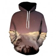 image of 3D SNOW MOUNTAIN GALAXY PRINT PULLOVER HOODIE (COLORMIX) XL