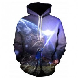 image of 3D EARTH FIGURE PRINT PULLOVER HOODIE (COLORMIX) M