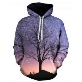 image of 3D VORTEX GALAXY TREE PRINT PULLOVER HOODIE (COLORMIX) L