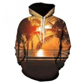 image of 3D SUNSET TREES PRINT PULLOVER HOODIE (COLORMIX) L