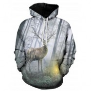 image of 3D DEER FOREST PRINT PULLOVER HOODIE (COLORMIX) 4XL