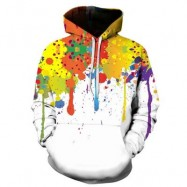 image of HOODED COLORFUL SPLATTER PAINT PRINT HOODIE (COLORMIX) 2XL