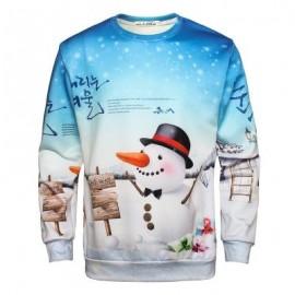 image of CHRISTMAS SANTA SNOWFLAKE PULLOVER SWEATSHIRT (BLUE) L