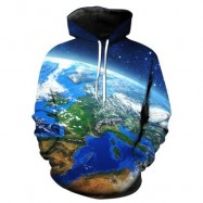 image of 3D EARTH GALAXY PRINT PULLOVER HOODIE (COLORMIX) 2XL