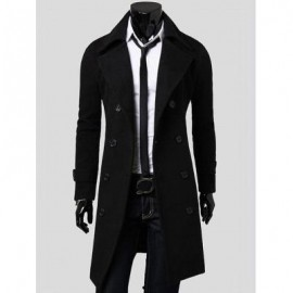 image of DOUBLE BREASTED OVERCOAT WITH SIDE POCKETS (BLACK) M