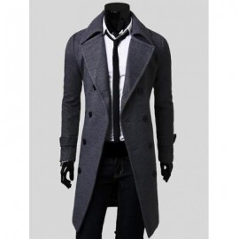 image of DOUBLE BREASTED OVERCOAT WITH SIDE POCKETS (GRAY) M