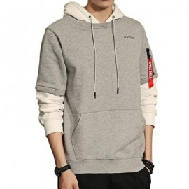 image of LAYERED SLEEVE COLOR BLOCK PULLOVER HOODIE (LIGHT GREY) L