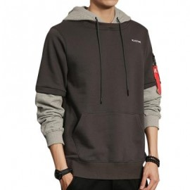 image of LAYERED SLEEVE COLOR BLOCK PULLOVER HOODIE (PEARL DARK GREY) L