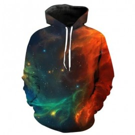 image of 3D OMBRE GALAXY PRINT PULLOVER HOODIE (COLORMIX) 2XL