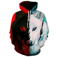 image of 3D COLOR BLOCK WOLF PRINT PULLOVER HOODIE (COLORMIX) XL