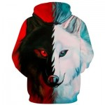 3D COLOR BLOCK WOLF PRINT PULLOVER HOODIE (COLORMIX) XL