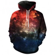 image of HOODED 3D GALAXY PRINT PULLOVER HOODIE (COLORMIX) XL