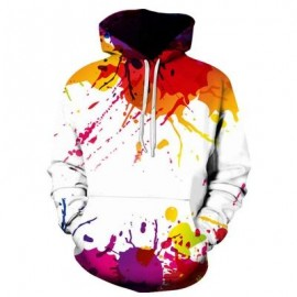 image of HOODED COLORFUL SPLATTER PAINT HOODIE (COLORMIX) L