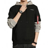 image of LAYERED SLEEVE COLOR BLOCK PULLOVER HOODIE (BLACK) L