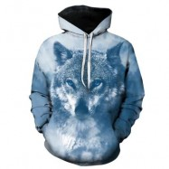image of HOODED 3D WOLF PRINT PULLOVER HOODIE (COLORMIX) 2XL