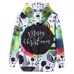 TIE DYE CHRISTMAS SCRAWL PRINT PULLOVER HOODIE (COLORMIX) 2XL