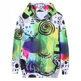 image of TIE DYE CHRISTMAS SCRAWL PRINT PULLOVER HOODIE (COLORMIX) 2XL