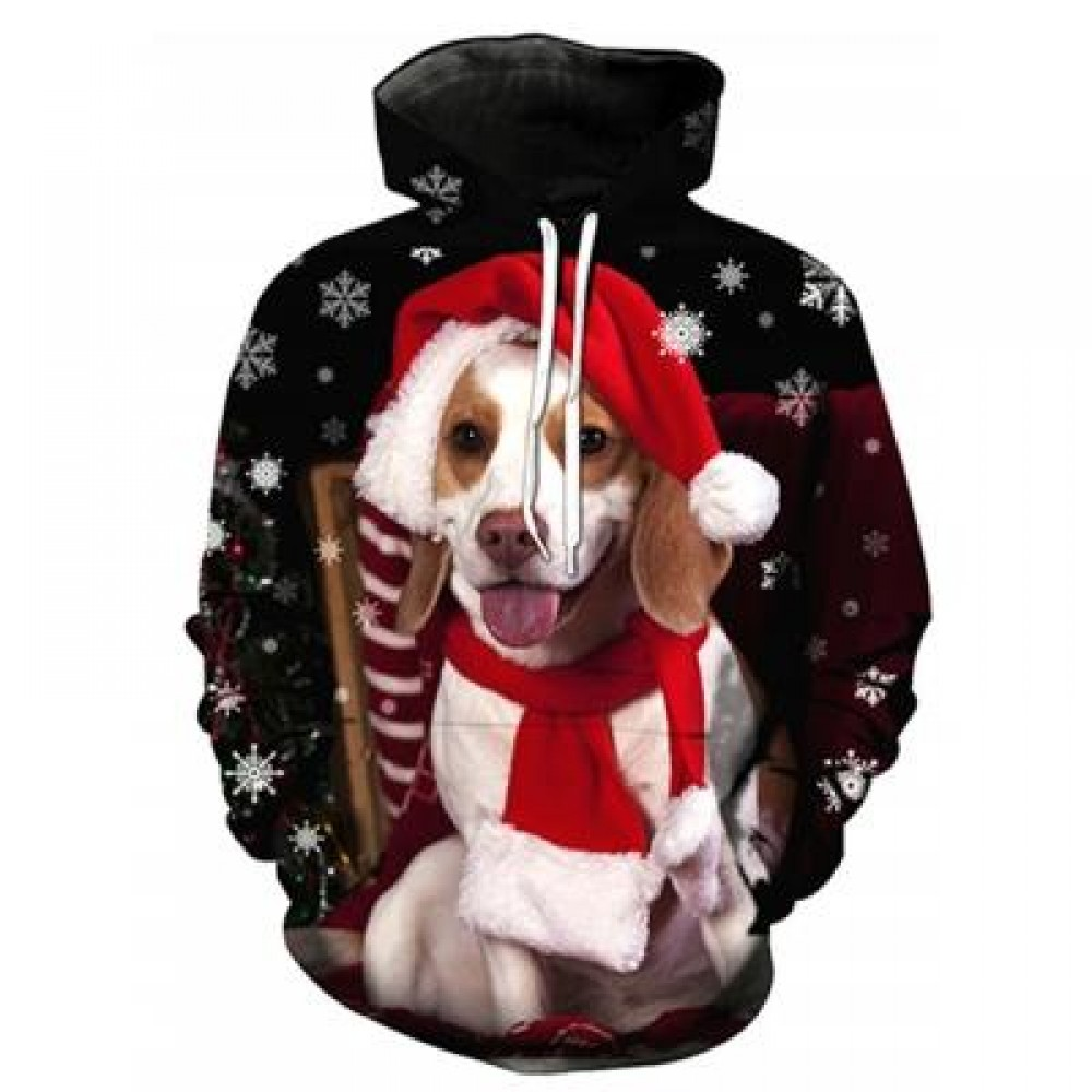 HOODED CHRISTMAS DOG 3D PRINT PULLOVER HOODIE (COLORMIX) L