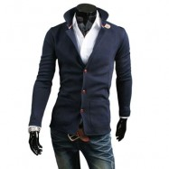 image of STYLISH PURE COLOR STAND COLLAR MALE SLIM FIT COAT (PURPLISH BLUE M/L/XL/XXL) L