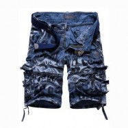 image of OUTDOOR CAMOUFLAGE POCKET DESIGN ZIPPER FLY MALE CASUAL SHORTS (BLUE) 36