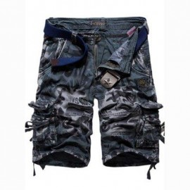 image of OUTDOOR CAMOUFLAGE POCKET DESIGN ZIPPER FLY MALE CASUAL SHORTS (DEEP GRAY) 30