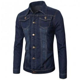 image of POCKETS EMBELLISHED TURN-DOWN COLLAR DENIM JECKET (BLUE) M