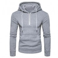 image of HOODED HALF ZIP POUCH POCKET FLEECE PULLOVER HOODIE (LIGHT GRAY) M