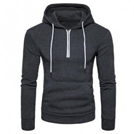 image of HOODED HALF ZIP POUCH POCKET FLEECE PULLOVER HOODIE (DEEP GRAY) S