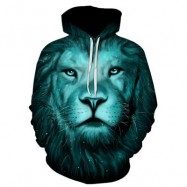 image of 3D LION GALAXY PRINT PULLOVER HOODIE (COLORMIX) M